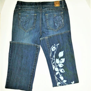 CANDIES SZ/7 BOOT CUT FLARE EMBELLISHED JEANS EUC